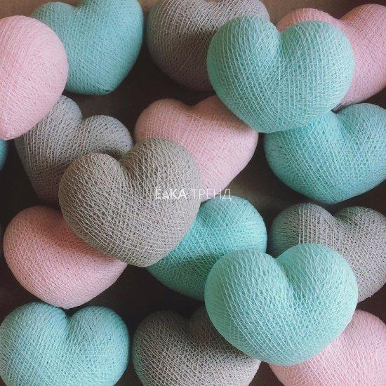 Гирлянда из ниток Сердечки серо-розово-голубые