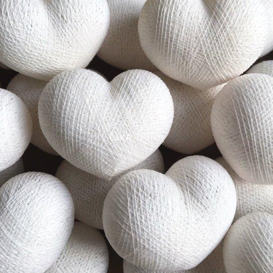 Светодиодная гирлянда Сердечки белые, из ниток