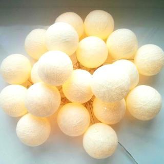 Светодиодные шарики Кремовые из ниток